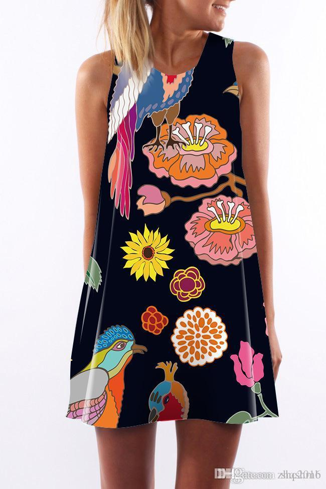 Women dress Summer crew neck Sling sleeveless Hip Wrap Elegant Lady Colorful variety of digital print skirt Casual pencil Dresses Size S-XL