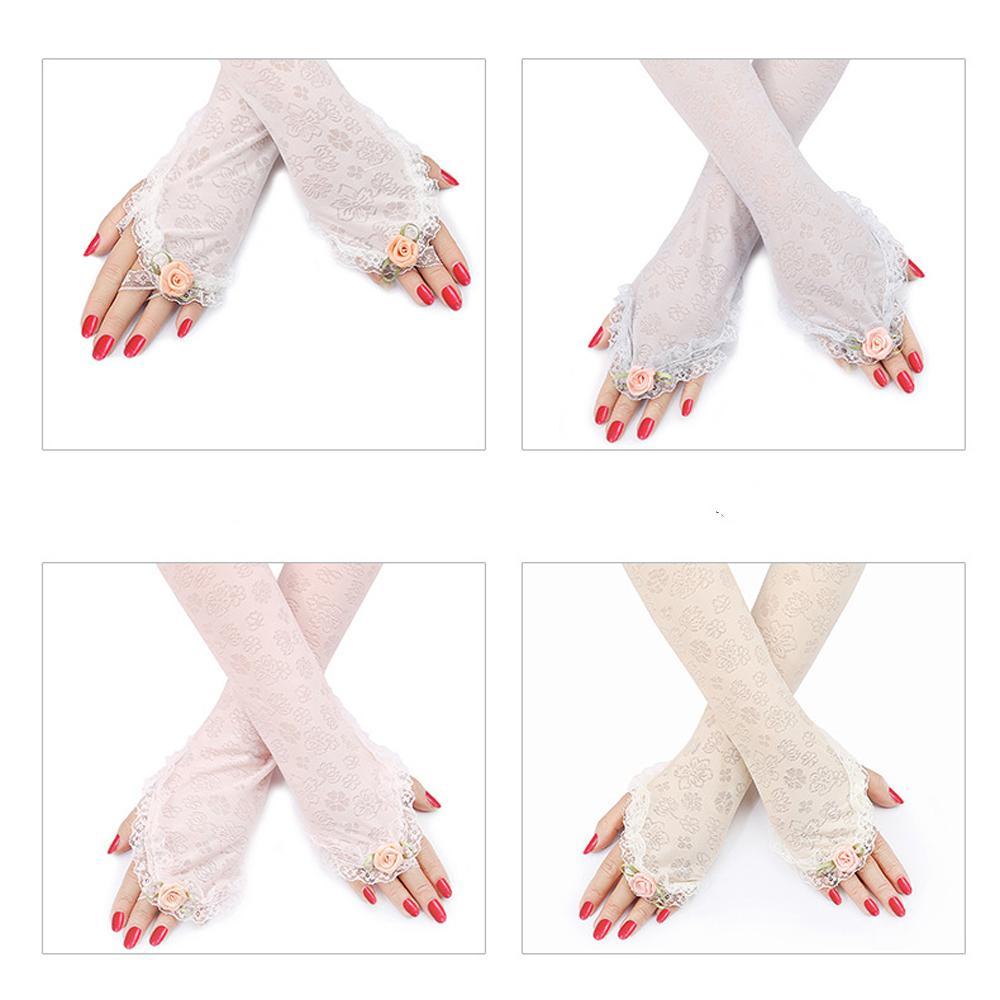 Guantes del nuevo verano de las mujeres de múltiples funciones de protección solar de algodón sin dedos del brazo fino largo protegidas del sol