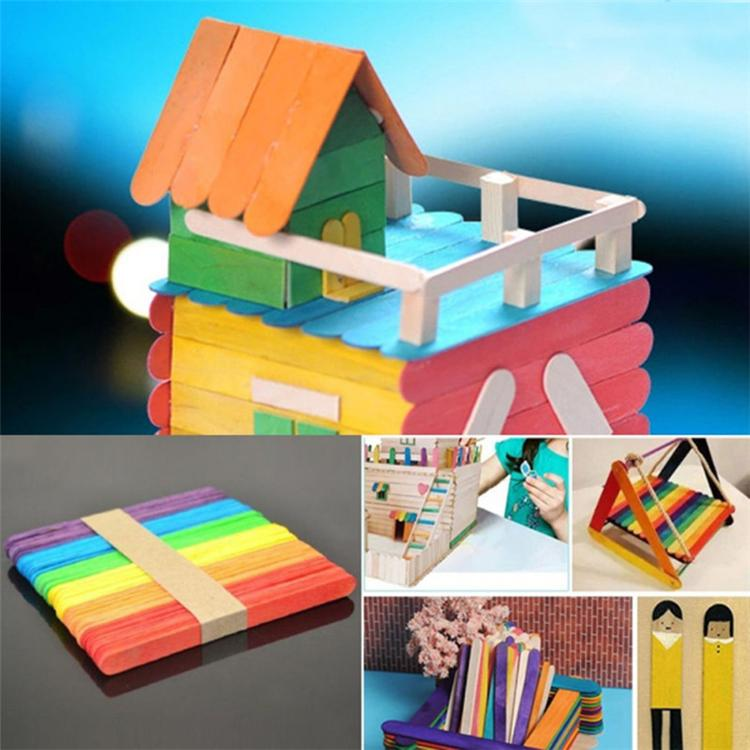 50pcs/lot Wooden Popsicle Stick Kids Hand Crafts Art Ice Cream Lolly DIY Making Gift Kids DIY Toys DHL SS152