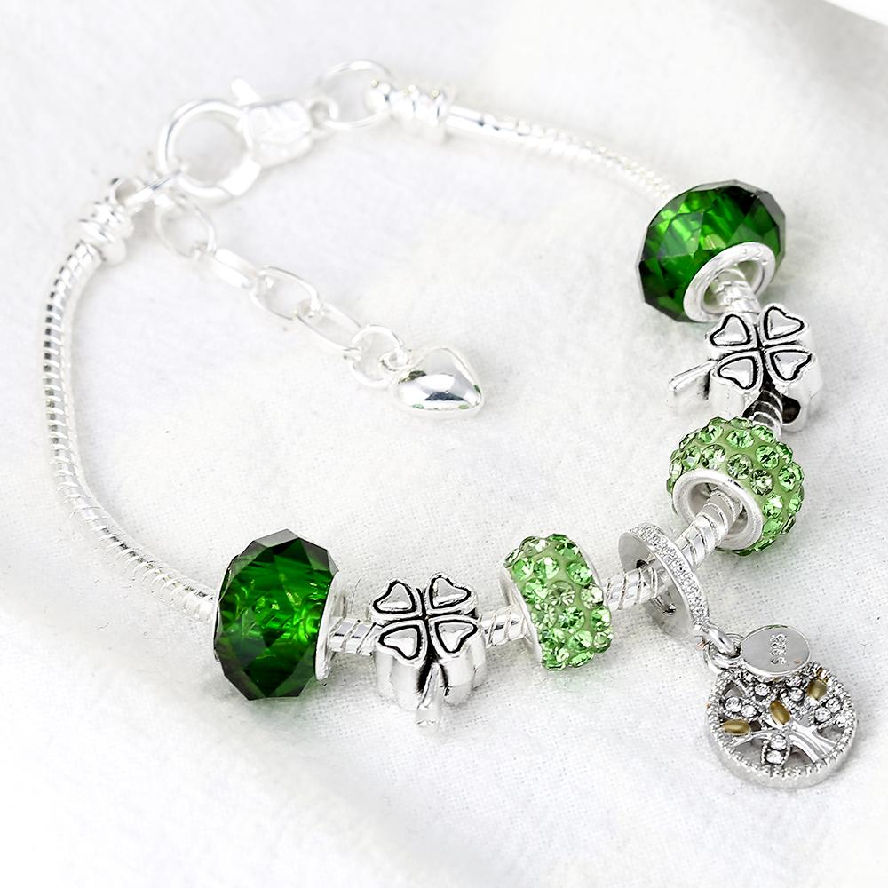 DEERIPA Baum Des Lebens Charme Armband Antike Silber Farbe Klee Perle Pandora Armbänder Armreifen Für Frauen Modeschmuck Geschenk
