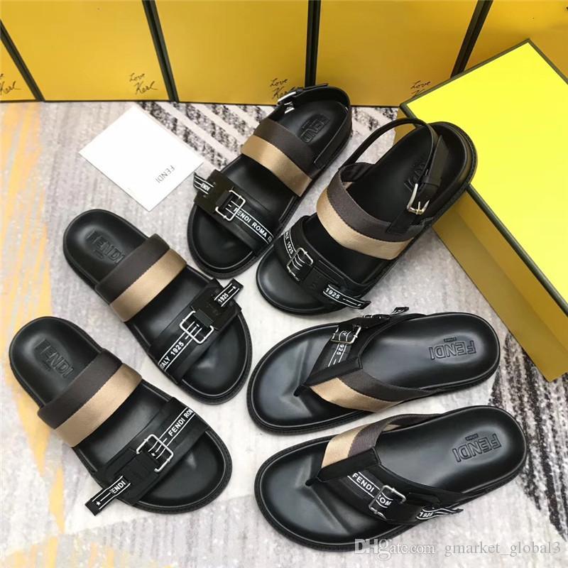 13ed1e6e New Men Sandals Black Leather Sandals slides Slippers Luxury Designer Men  Sandals Sandal High Quality Wholesale Size 39-45