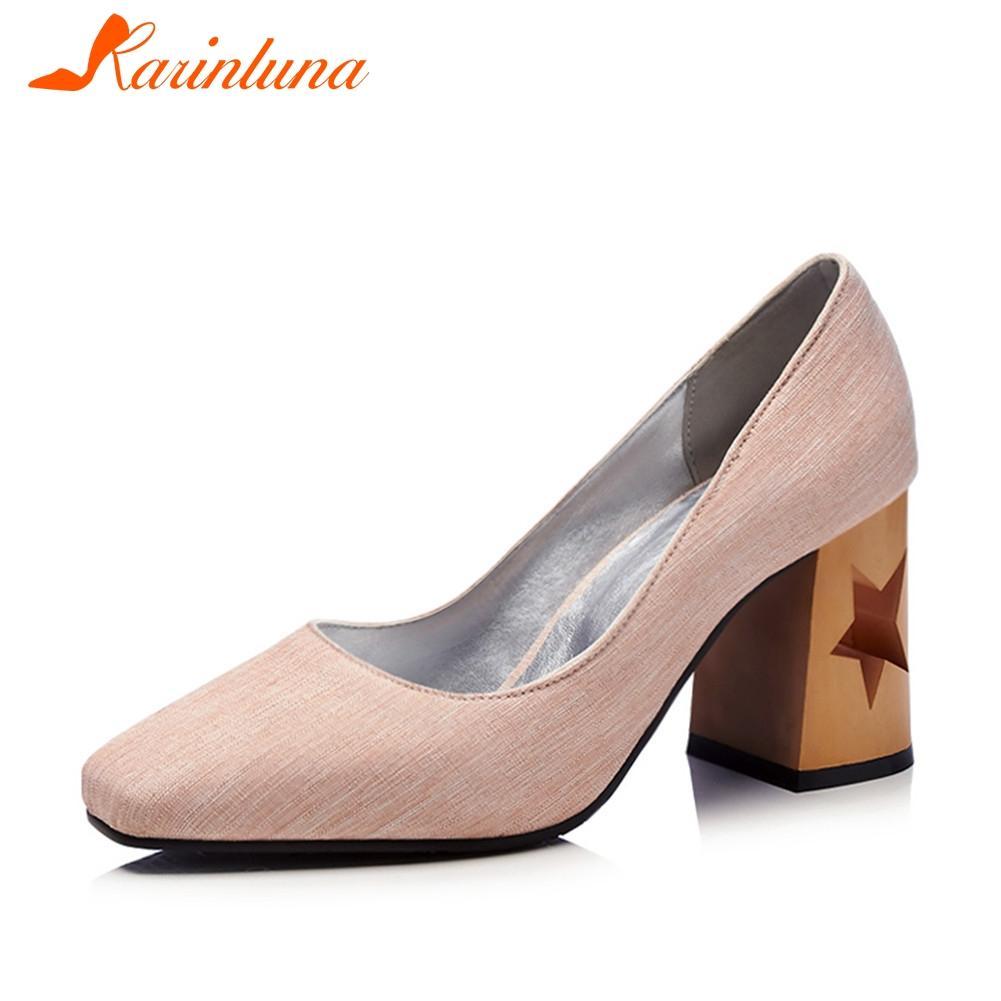 Karinluna Altos Grandes Oficina Calzas Cuadrados Casual Nueva Tacones Calados Mujer Zapatos Retro Primavera 48 Otoño 32 Tallas Bombas 45ARj3L