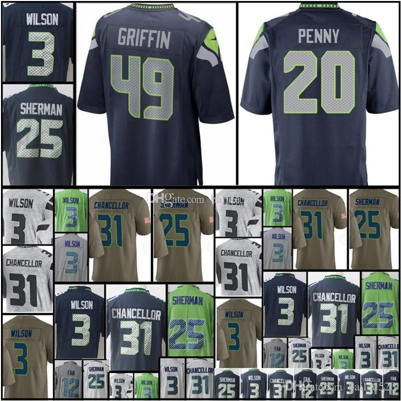 2019 Men S 100%embroidery  49 Shaquem Griffin 3 Russell 31 Kam Chancellor  12th Fan 25 Richard Sherman Stitched Logos From Bailee520 346cc298f