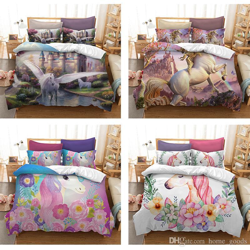 a727c44aea 3D Printed Floral Wreath Unicorn Bedding Sets Duvet Cover Cartoon  Bedclothes Quilt Cover Pillowcase Single Double Queen Super King Size  Bedroom Comforter ...