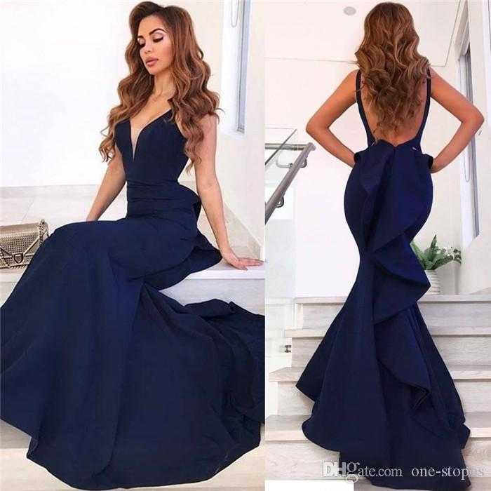beb62a5220607 Navy Blue Deep V neck Prom Dress Mermaid Backless Evening Dress Sexy 2019  Party Gown Pagenat Formal Dress Custom Made Plus Size