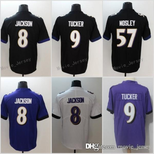8 Lamar Jackson Jersey Baltimore 57 C.J. Mosley 9 Justin Tucker Ravens  Football Jersey Purple Black White UK 2019 From Movie jersey aa6216201