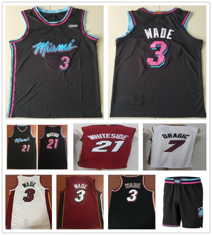 8510ae425b0b Stitched 3 Dwyane Wade Jerseys New City Black White Red 21 Hassan ...