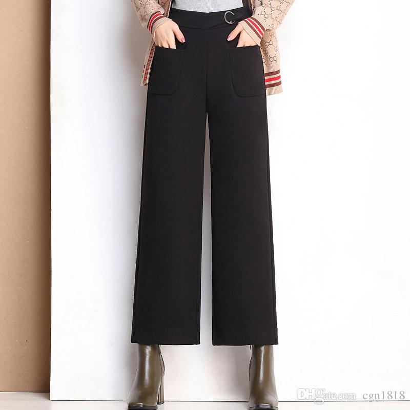 Gran De Cintura Anchos Imitación Alta Elásticos Lana Gruesos Pantalones Sueltos Mujer Tamaño Casuales kXiOuZPT