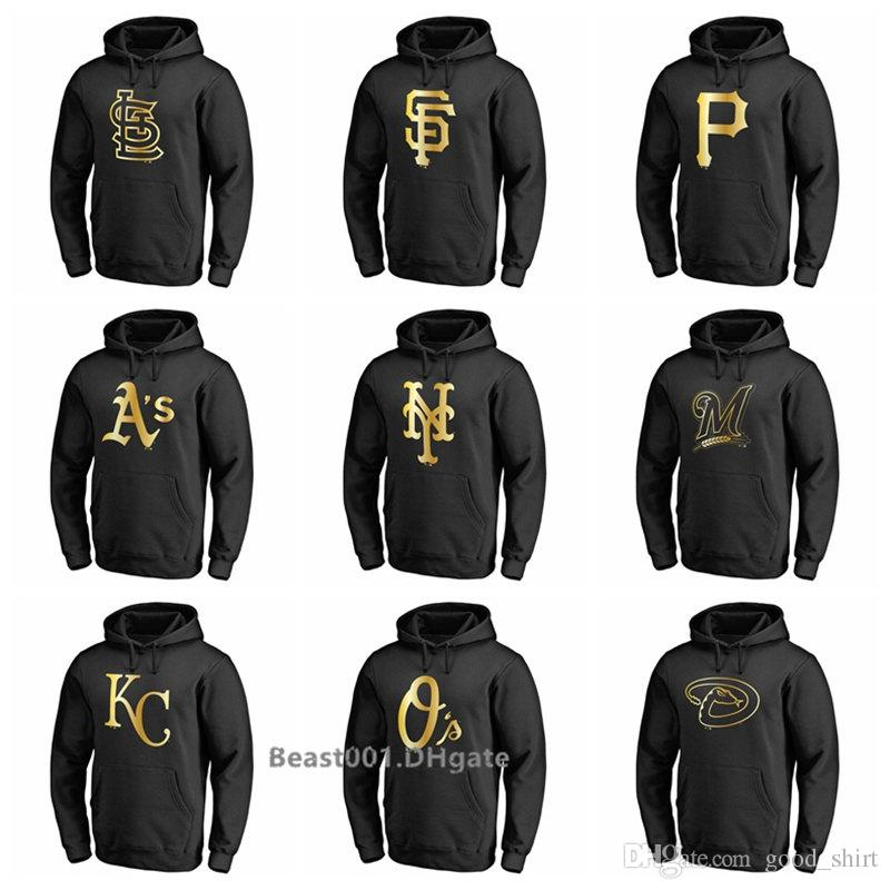 online store 2c6e5 f4add Men Women Youth Brewers Royals Orioles Diamondbacks Cardinals Giants  Pirates Athletics Mets Gold Collection Pullover Hoodie - Black