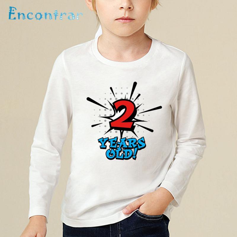 Grosshandel Geburtstagskind Nummer 1 5 Brief Drucken Lustiges T Shirt Kinder Casual Langarmshirts Baby Happy Birthday Geschenk Anzahl