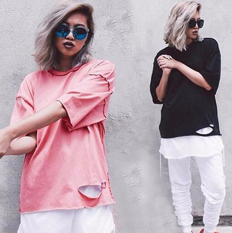 f1165fd57e Sao Pink Reverse Wear Men And Women Couple Short Sleeve Designer  Destruction T Shirt OVERSIZE Loose Off The Shoulder Hole Summer Cotton T  Urban T Shirts ...