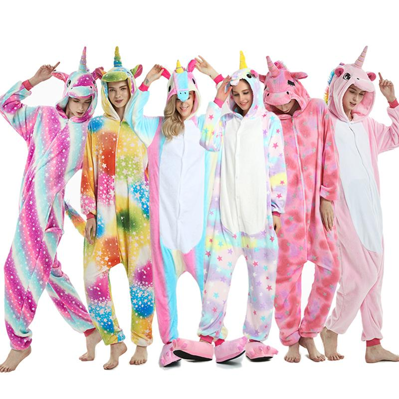 2019 Winter Animal Pajamas Stitch Sleepwear Unicorn Pajamas onesie Sets Kigurumi Women Men Unisex Adult Flannel Nightie overalls