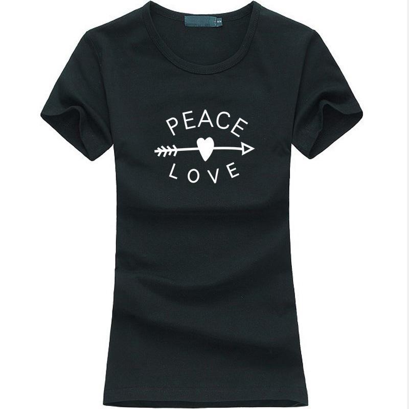 58cbc87cd Compre Camiseta De Las Mujeres Peace Love Impreso Mujeres Camiseta Flecha  Corazón Divertido Camiseta Casual Femme 2017 Marca De Moda De Verano Harajuku  Punk ...