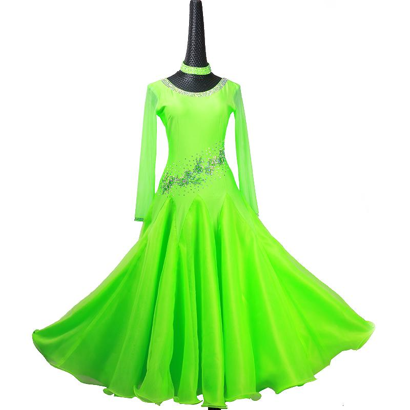2496d408688d 2019 Custom Green Standard Ballroom Dress Women Viennese Waltz Dress  Ballroom Dance Competition Dresses Foxtrot Rumba Costumes From Missher, ...