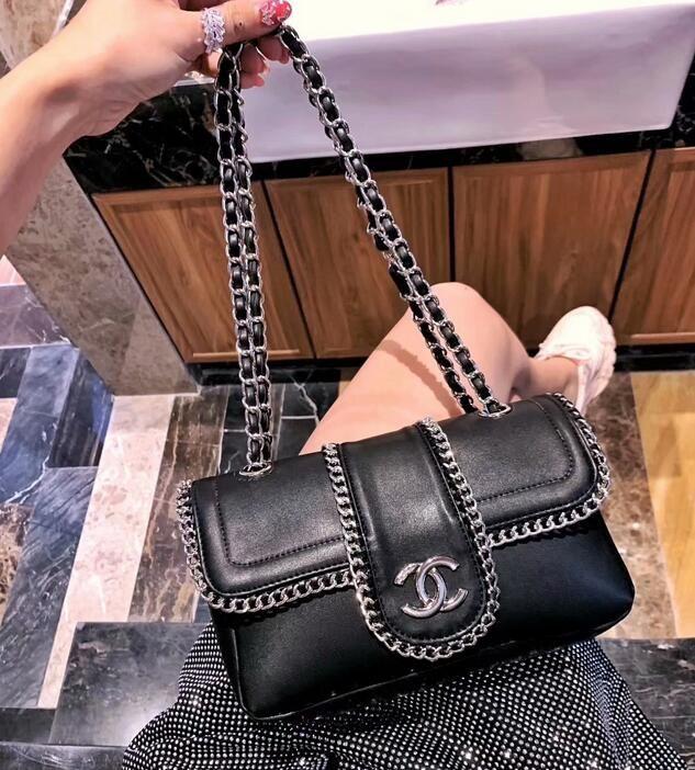 e788df78ff AAAA 2019 Explosion Models Black Rhinestone Buckle Chain Shoulder Bag Women  Fashion Classic Luxury Brand Handbags Catwalk Package Backpack Purse Bags  For ...