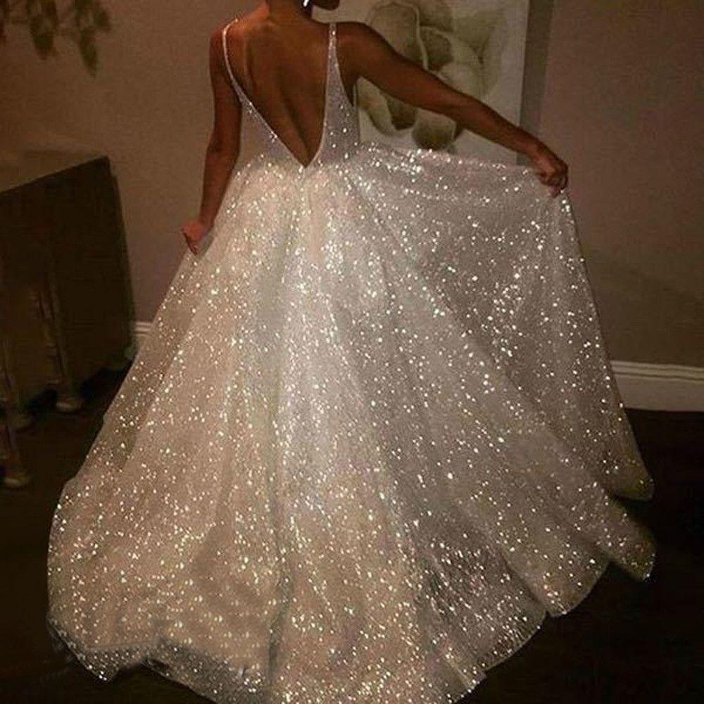 dad9d408 Women Sexy Glitter Dress White V Neck Sleeveless Plus Size Backless Vest  Solid Sling Party Long Dresses Sukienki Vestidos 2019 Homecoming Dresses  Evening ...