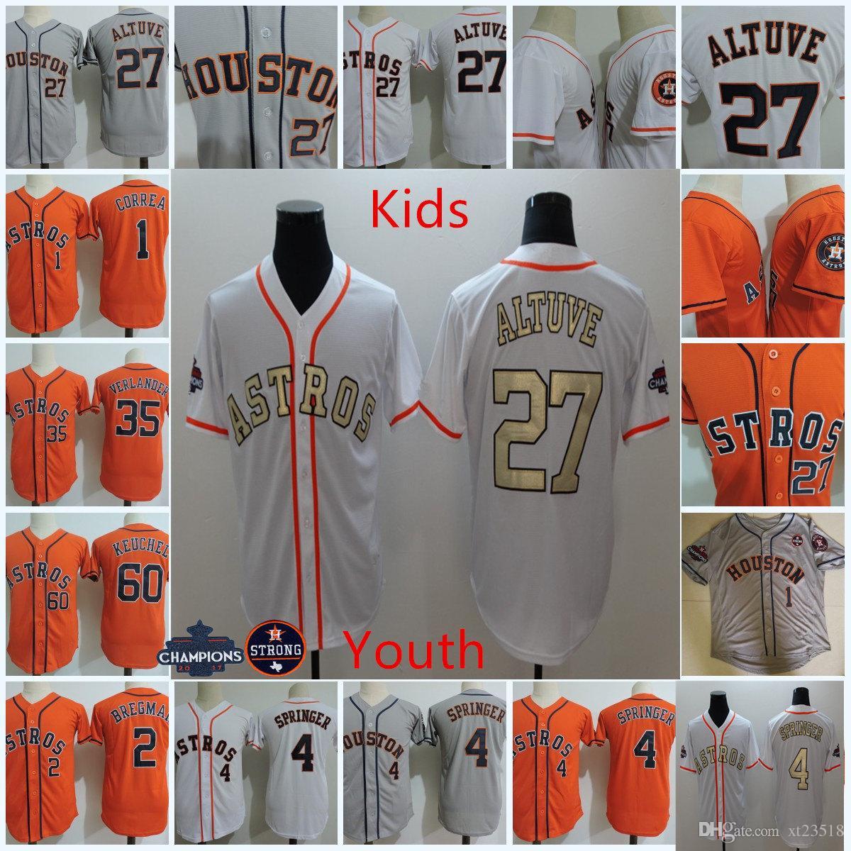 timeless design 70bbe 35112 Youth #4 George Springer Jersey Kids #1 Carlos Correa #2 Alex Bregman #35  Justin Verlander #27 Jose Altuve Jersey S-3XL