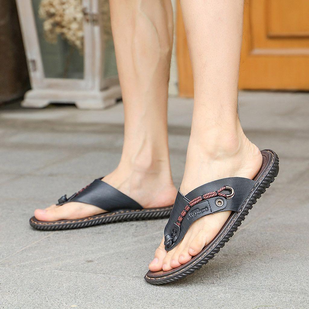 Flip Flops Men's Shoes Popular Brand 2019 New Mens Shoes Flip Flops Mens Rubber Bottom Mens Non-slip Feet Feet Slippers Wood Wear Beach Slippers