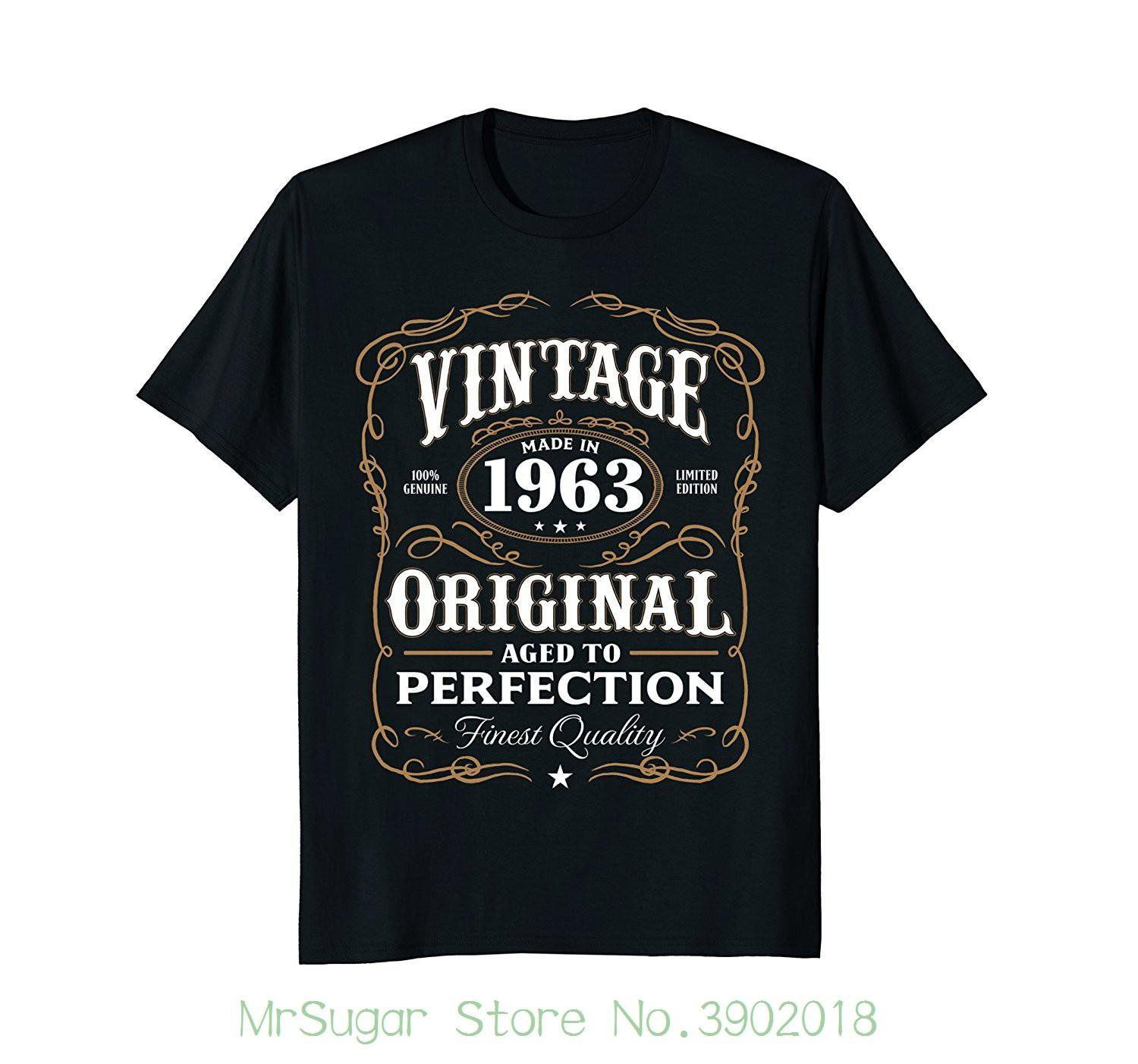 Vintage Made In 1963 T Shirt 55th Birthday Gift Round Neck Best Selling Male Natural Cotton Shirts Designs Online Shopping From Jie032