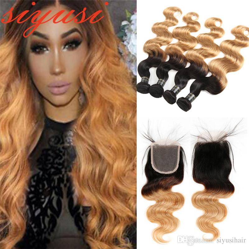 2d26d239ca8 1B/27 Peruvian Virgin hair Body Wave With Lace Closure Ombre Hair Bundles  With Closure Cheap 100% Human Hair Weaves With Closure