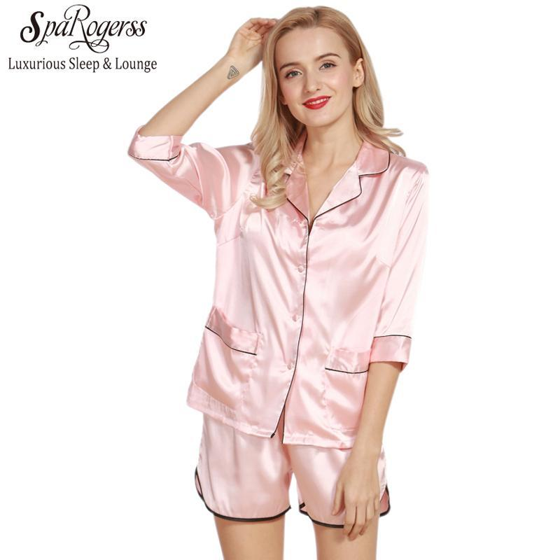 2019 Women Pajama Sets Summer 2017 Silky Ladies Pajamas Shorts Set Faux  Silk Female Sleep Lounge Size L Pyjama TZ319 From Pakis 754d15bf9