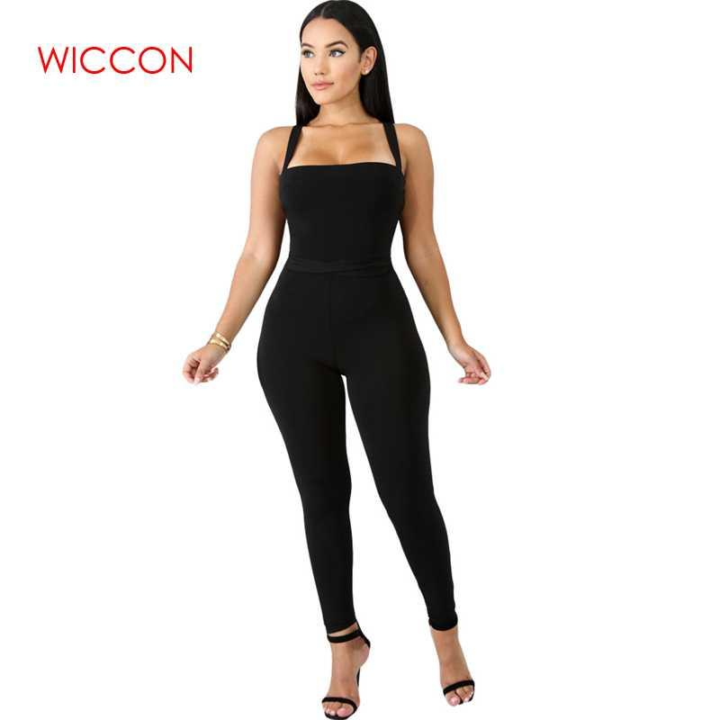 Sexy Bandage Backless Rompers Tights Female Jumpsuits For Women 2019 Overalls Plus Size Playsuit Casual Black One Piece Bodysuit