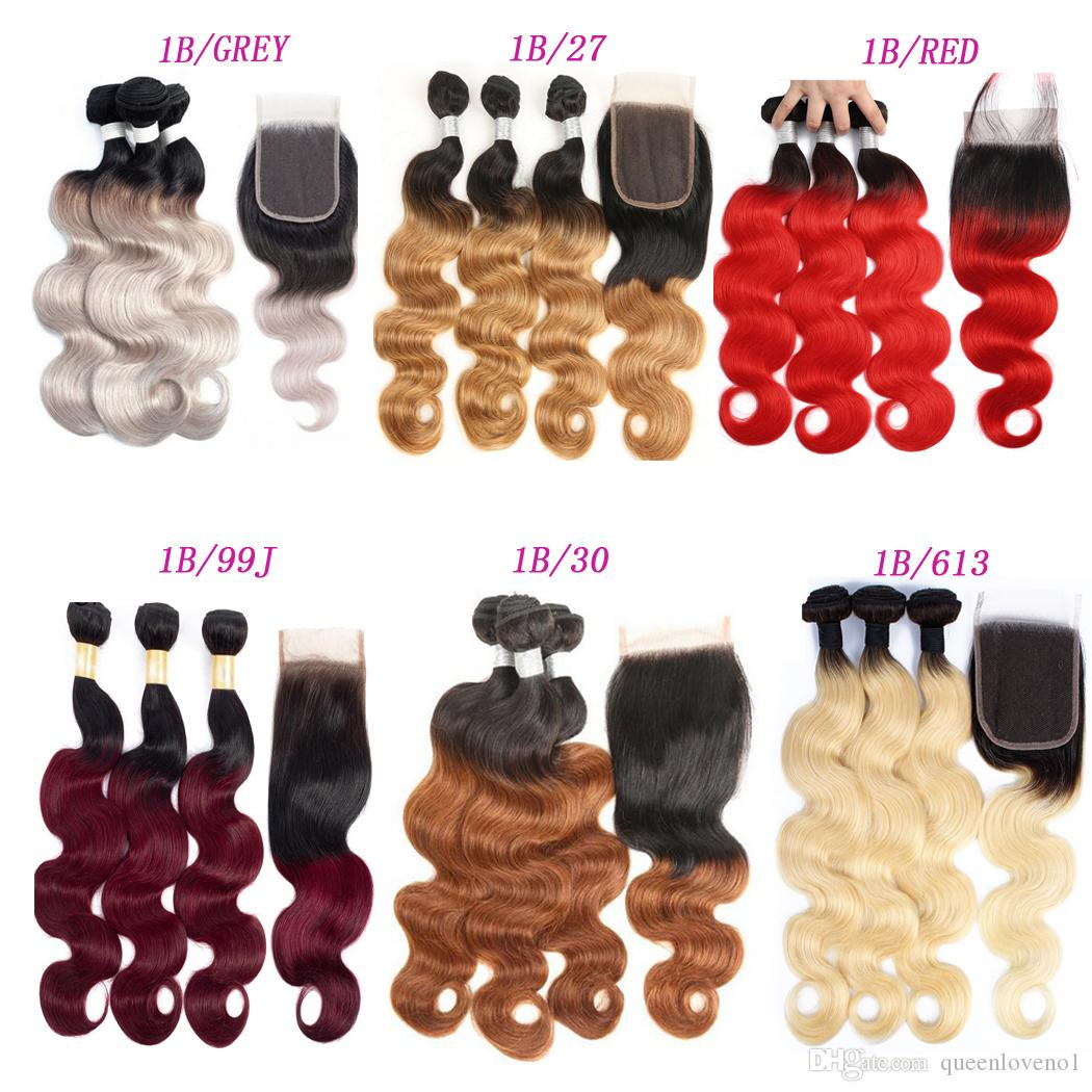 Brazilian Ombre Hair Body Wave Straight Remy Hair Weaves 1B/27 1B/30 1B/99J 1B/Red 1B/613 1B/GREY Double Wefts