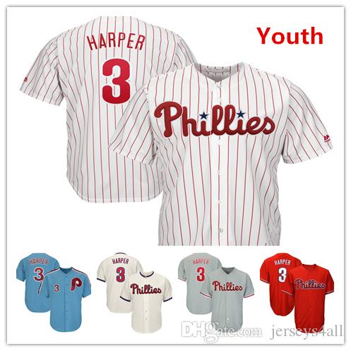 da64f3d4d 2019 Youth Kids Child Phillies Baseball Jerseys 3 Bryce Harper New Jersey  Light Blue White Red Grey Gray Cream From Jerseys4all