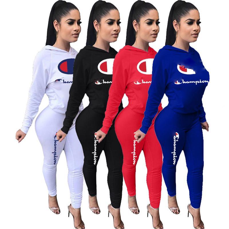b6de9d094d Women Champions Letter Print Tracksuit Long Sleeve T Shirt Top Pants  Leggings 2PCS Set hoodies Outfits Sportswear Suit Sweatshirt 2019