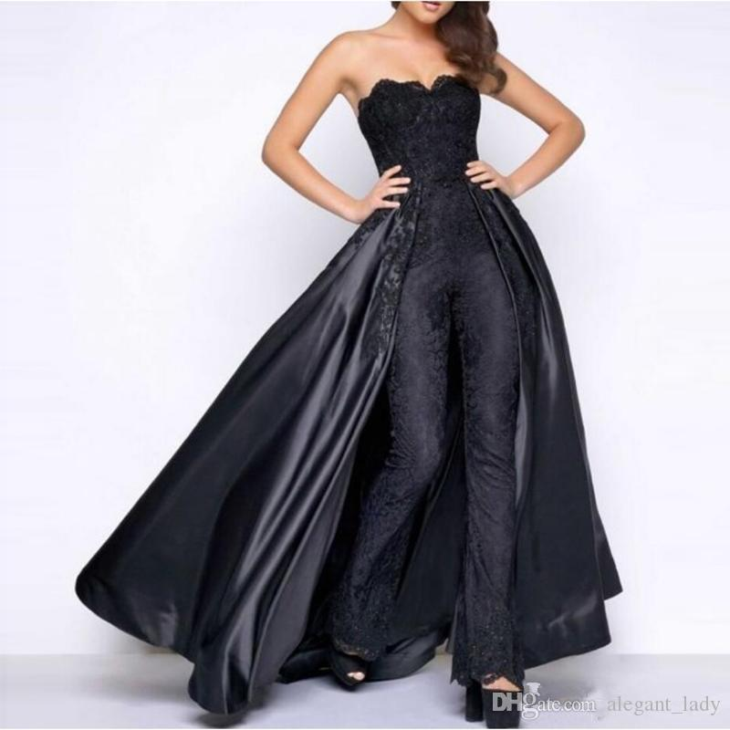 Black Lace Stain Prom Jumpsuit With Puffy Detachable Overskirt 2019 Strapless Women Party Occasion Evening Pant Suit