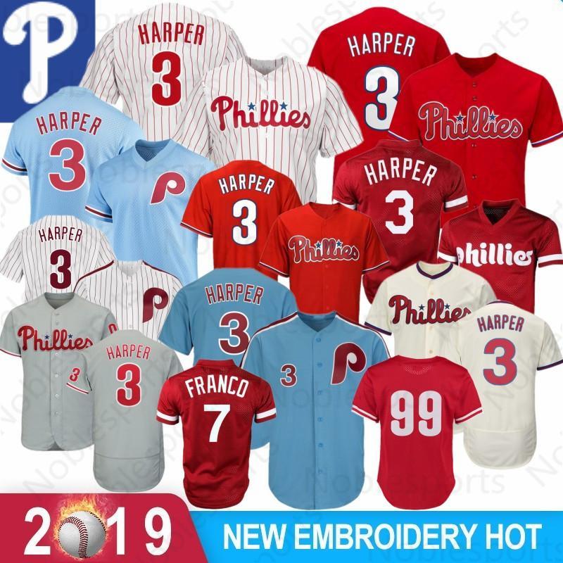 6eb866260bbad Acheter Philadelphia Jersey 17 Rhys Hoskins 2019 New Phillies 3 Bryce  Harper 27 Aaron Nola Maillots De Baseball Broderie Maille Rétro De $50.92  Du ...