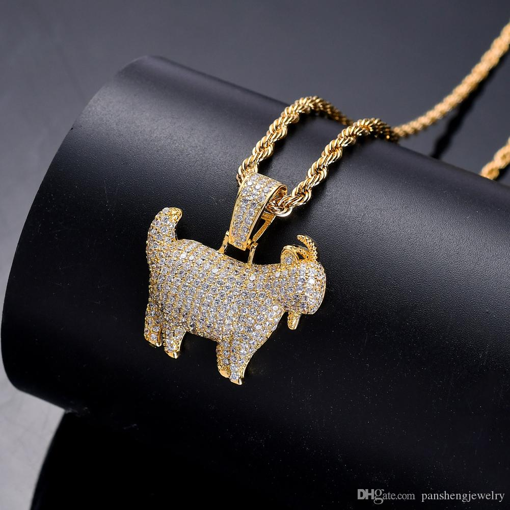 Bling Bling Bras cubic zirconia Animal Goat Pendant Hip hop Necklace For Men And Women Jewelry Gift CN051