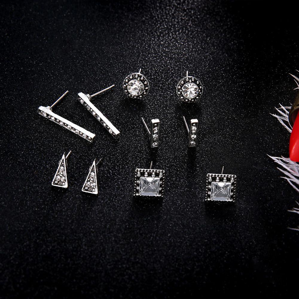 Meyfflin Moda Brincos Set 5 Pares / set Cor Prata Triângulo Bar Brincos De Cristal para As Mulheres Boho Jóias Brincos Novo