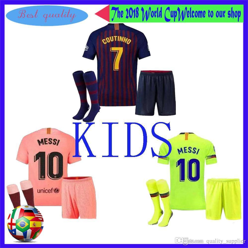 newest a66b6 6e239 TOP Barcelona soccer jersey uniform kit SUAREZ O.DEMBELE third 3RD pink  PIQUE Messi Champions children Football shirt kit kids INIESTA socks