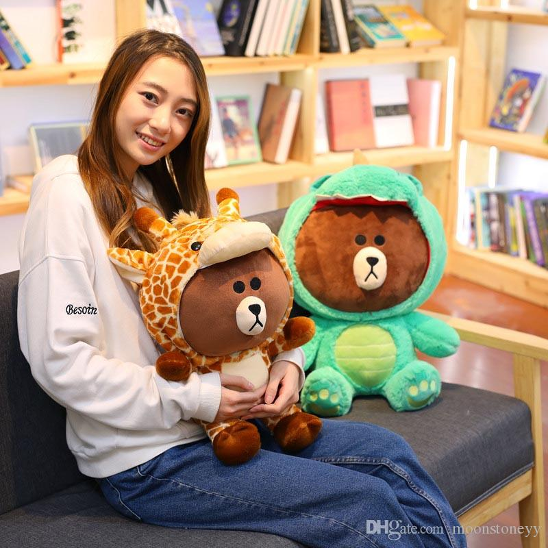 2019 Brown Bear Plush Toy Korean Bear In Dinosaur Pig Dog Suit Cute