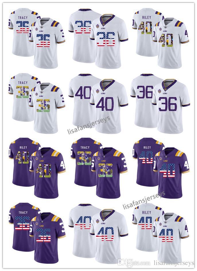 7665047bc Custom 2019 LSU Tigers Jersey 36 Cole Tracy 40 Duke Riley Purple ...