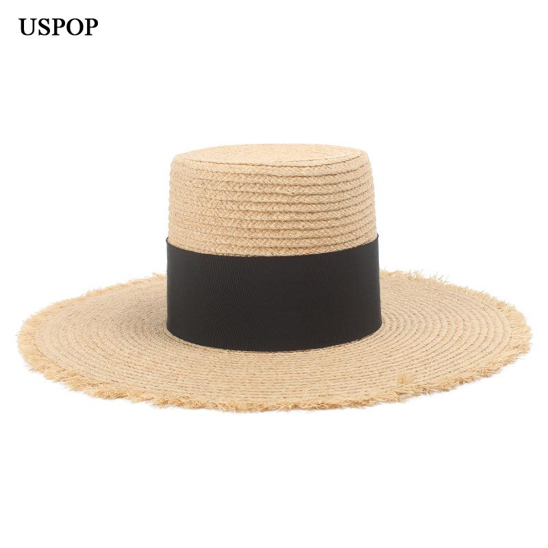 3894a5648ed USPOP 2019 New Natural Raffia Hat High Top Wide Brim Straw Hat Fashion  Female Wide Black Ribbon Beach Summer Sun Bailey Hats Scrub Hats From  Ancient88