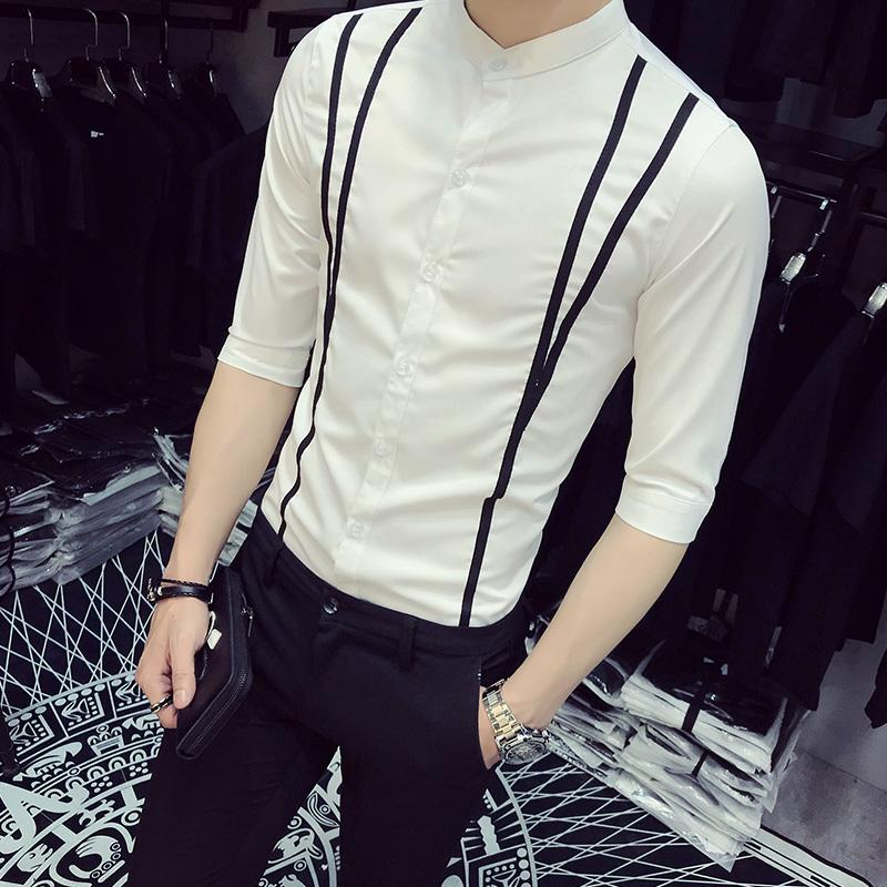 f78b89029fd 2019 Summer Tuxedo Shirt Fashion 2018 Slim Fit Front Ribbon Design Dress  Shirts Mens Casual Half Sleeve Blouse Homme Plus Size 5XL S From Qingchung