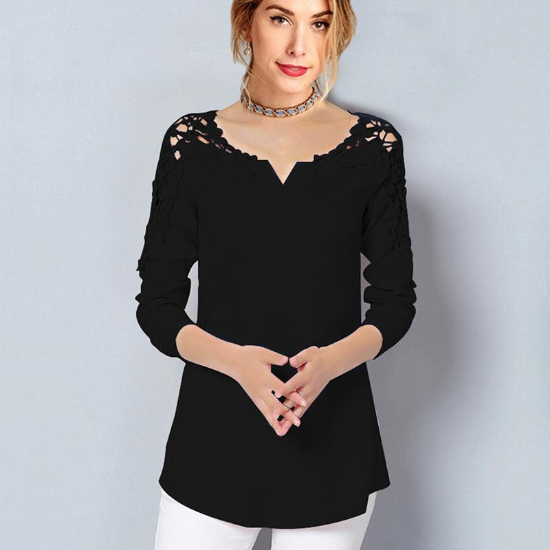 Summer Womens Slim Embroidery Long Sleeve Shirts Crochet White Cotton Blouse Women's Clothing Retail Wholesales