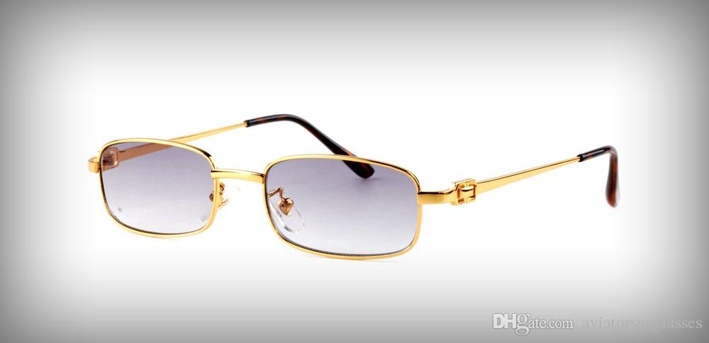 2cb25ba177 Compre 2019 Gafas De Sol De Diseñador Para Mujer Para Hombre Rectángulo  Búfalo Cuadrado Gafas De Lujo Marca De Metal Vintage Gafas De Sol Con  Lentes ...