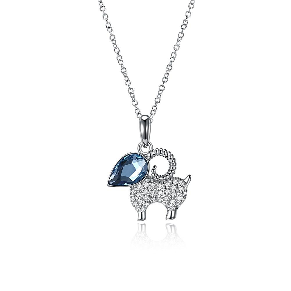 wholesale Lovely Women Necklaces Crystals from Swarovski 925 Sterling Silver Sheep Lamb Crystal Pendant Necklaces Jewelry Cute Gift