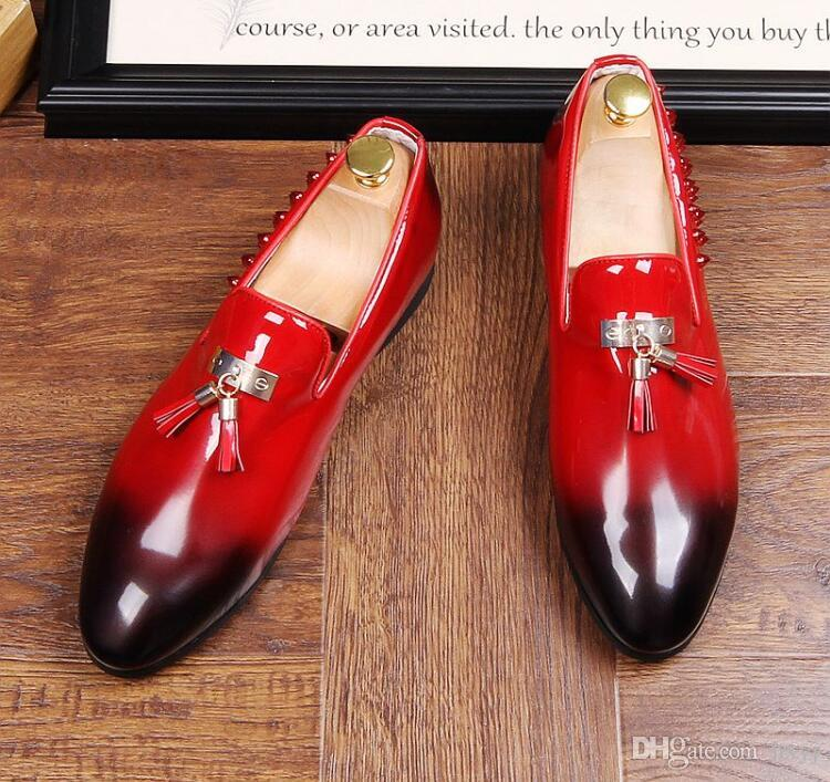 3f1607f5ac303 New British Designer Men Vintage Tassel Pendant Pointed Shoes Rivet Loafers  Mens Homecoming Party Wedding Dress Loafers Shoes Black Red N969 Suede Shoes  ...