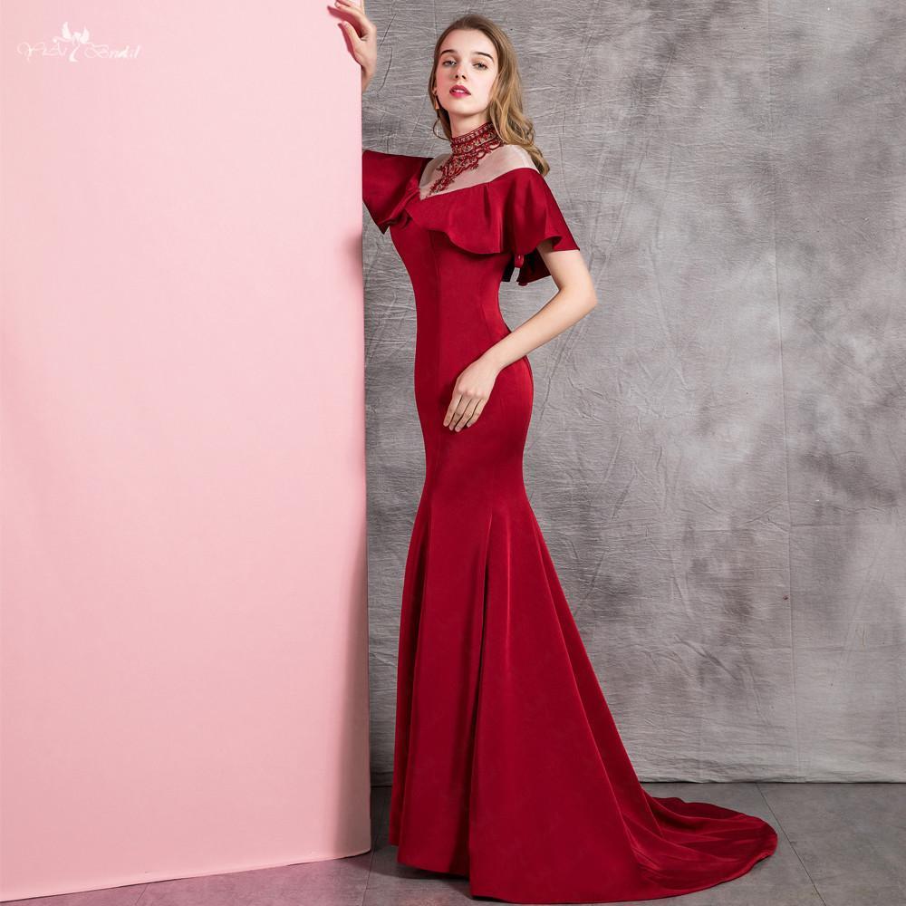 19125adc51 Compre RSE898 Elegantes Vestidos De Fiesta Reborde Escote Volantes Hombro  Largo Rojo Burdeos Sirena Vestido De Fiesta A  173.97 Del Zhanhuawedding