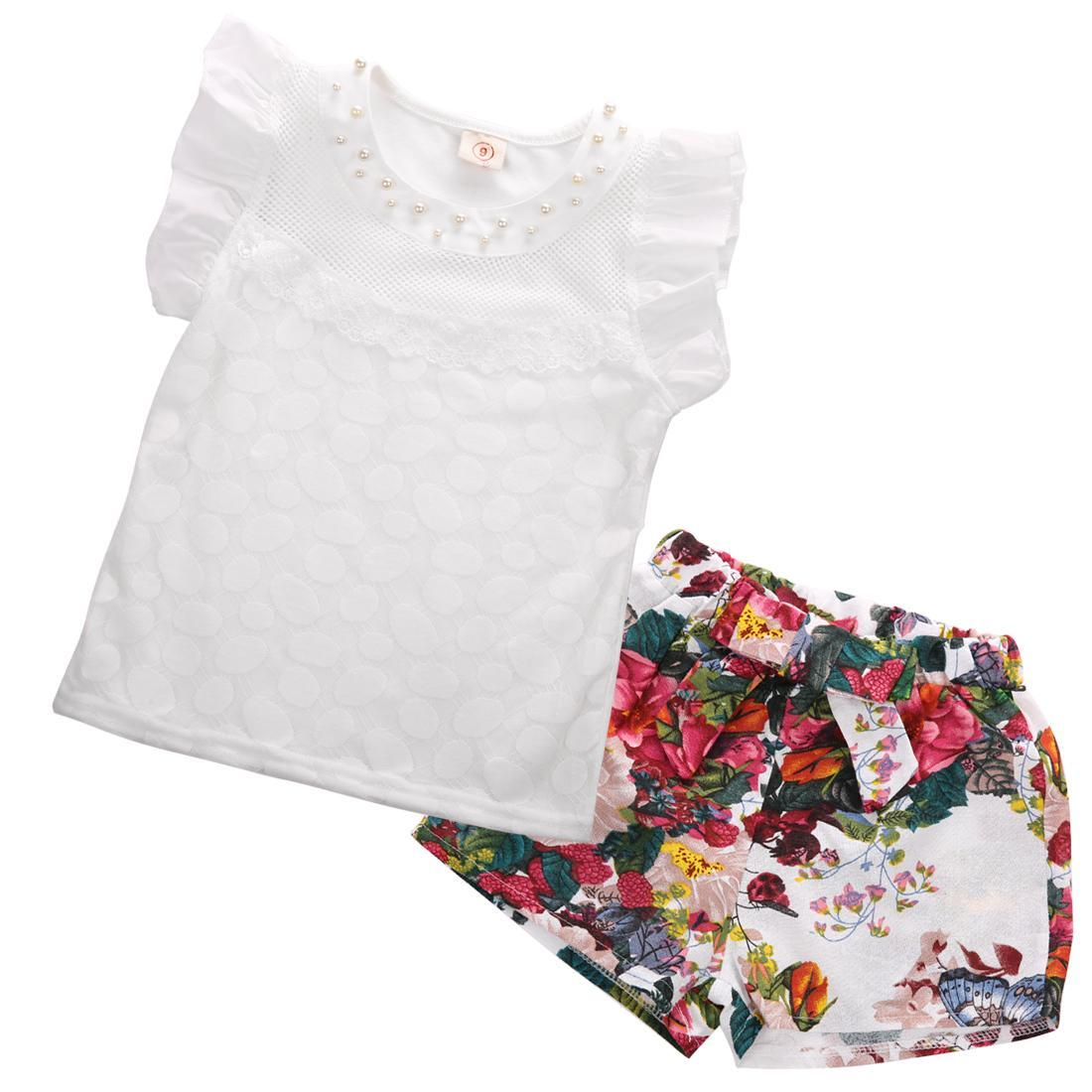 2-7Y Summer Baby Girl Kids Sleeveless Gold Beads Lace Solid Clothes Floral Elastic Band Shorts Outfit