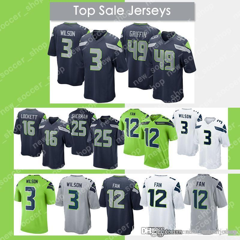 new product b4e69 cab77 3 Russell Wilson Jersey Seattle Seahawks 49 Shaquem Griffin 20 Rashaad  Penny 12s 12th Fan 31 Kam Chancellor 54 Wagner Men Jerseys