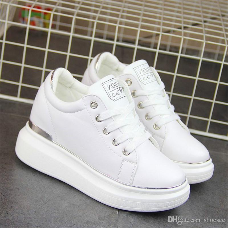 47a90ce2c04 2019 Women Platform Wedge Sneakers Ladies Leather Shoes Golden Silver White  Hidden Heels Shoes Female Krasovki Tenis Feminino Casual From Shoesee, ...