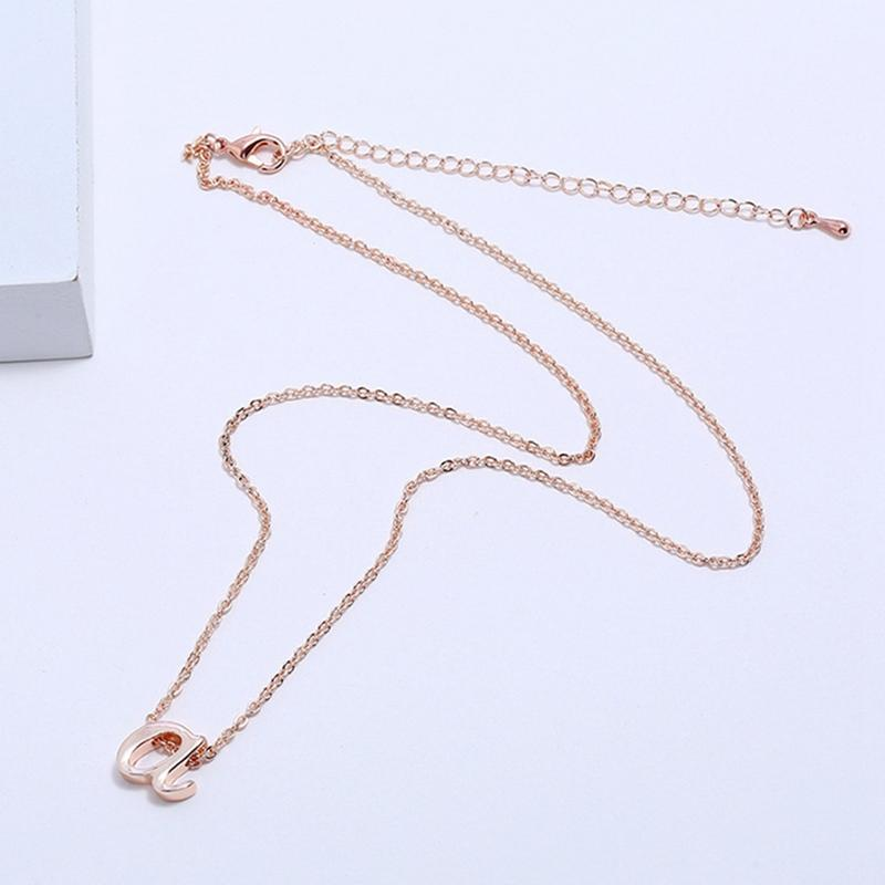 66711c9ac Tiny Rose Gold Silver 26 Letters Necklace Fashion Women's Metal Alloy DIY  Letter Name Initial Link Chain Charm Pendant Necklace