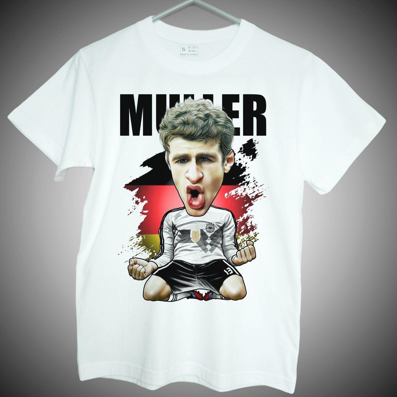 buy online 9c505 2c5fd T-shirts of Thomas Muller World cup Germany soccer star short sleeve fans  gifts Funny free shipping Unisex Casual Tshirt top