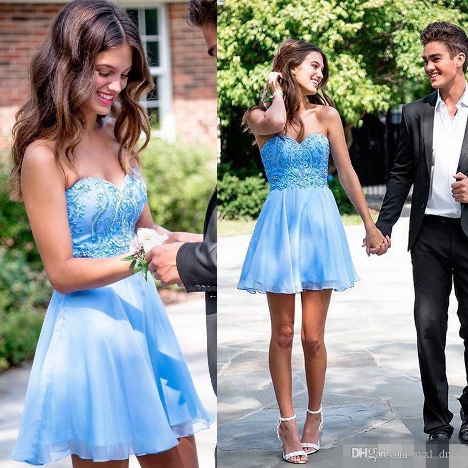 249491817f3 2019 New Short Homecoming Dresses Sweetheart Cheap Beaded Mini Cocktail  Dresses Club Wear Sweet 16 Short Prom Evening Gowns Free Dresses Gowns 2015  From ...