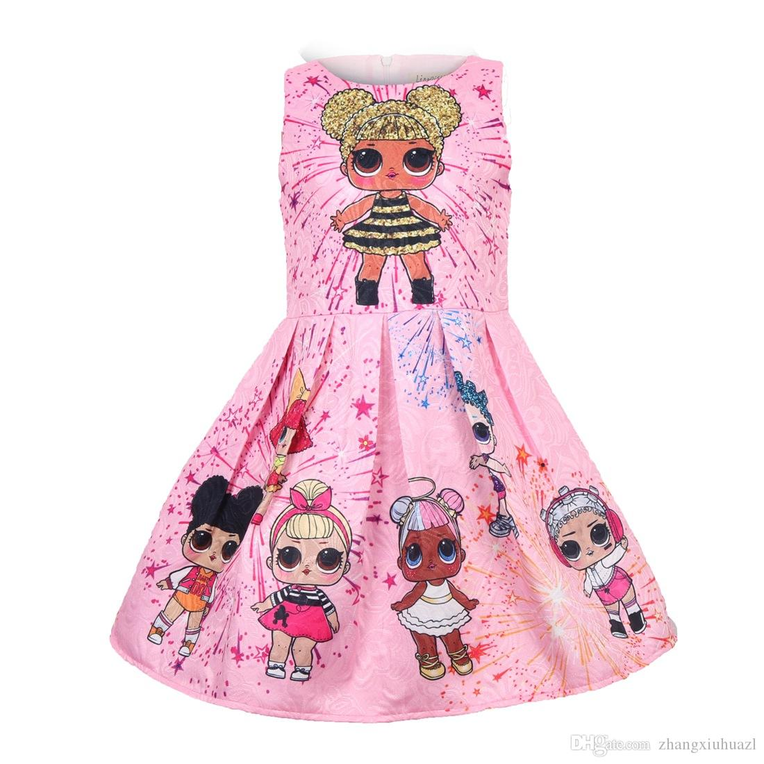 c7400c471 Girls Dress Cartoon Wedding Party Dresses for Kids Pearls Formal ...